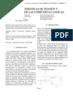 CARACTERÍSTICAS DE TENSIÓN Y CORRIENTE DE LAS COMPUERTAS LOGICAS