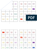 Cartas de Lotería Tablas de Multiplicar