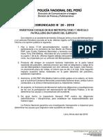 COMUNICADO PNP N° 20 - 2019