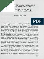 FUERZAS SOCIALES, ESTADOS Y ORDENES MUNDIALES