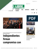 Independientes Firman Compromiso Con Cortizo - Metro Libre