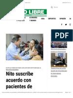 Nito Suscribe Acuerdo Con Pacientes de Dietilenglicol - Metro Libre