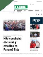 Nito construirá escuelas y estadios en Panamá Este - Metro Libre