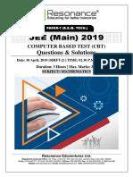JEE Main 2019 Mathematics April Attempt Shift - 2(10th April, 2019)