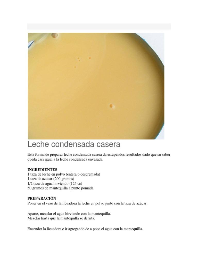 Leche Condensada Casera Docx Crema Leche