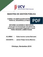 INFORME ACADEMICO INDIVIDUAL - Guía para la formulación de planes de desarrollo concertado Regional y Local/ PDRC-REGION LAMBAYEQUE