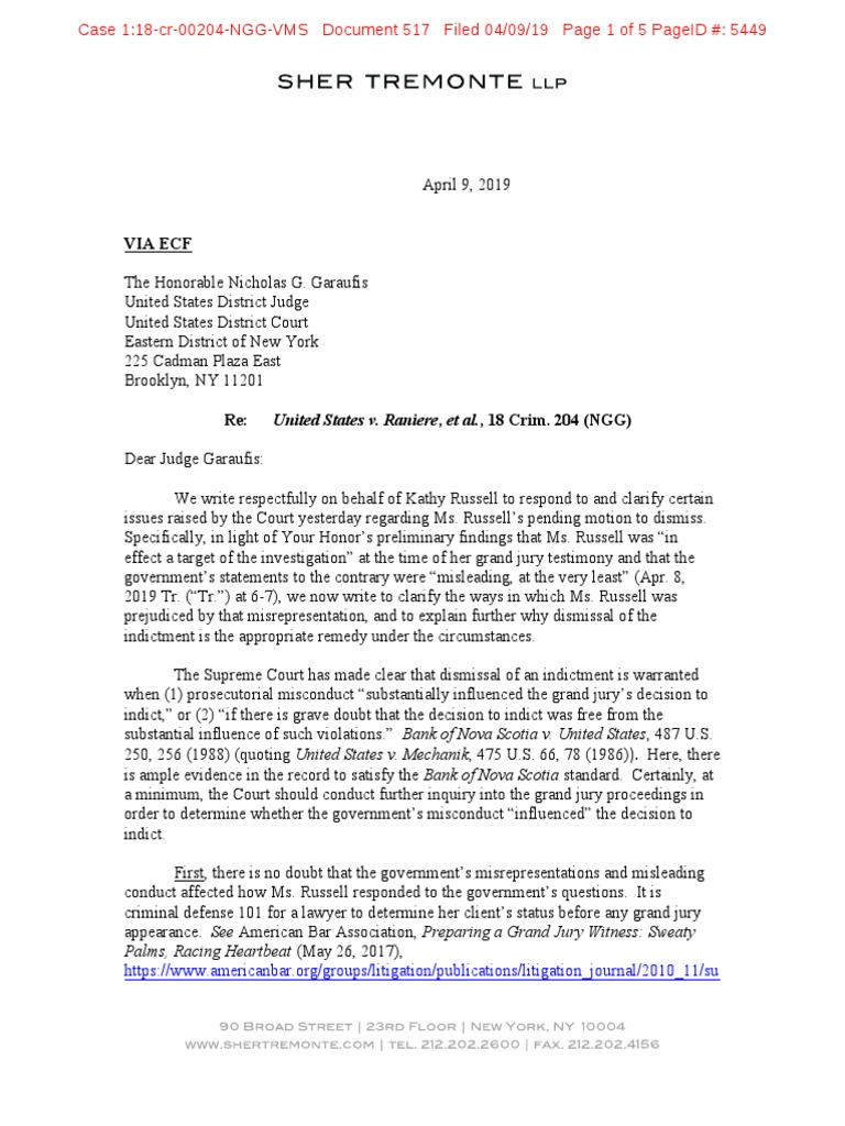 Nxivm Doc 517: Kathy Russell motion to dismiss follow up