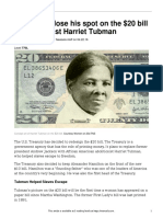 jackson to lose his spot on the  20 bill to abolitionist harriet tubman  770l