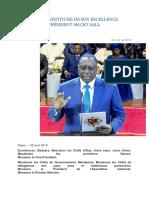 Discours d'Investiture Du President