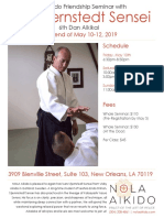 Lars Stjernstedt Sensei Friendship Seminar at NOLA Aikido May 2019 Flyer