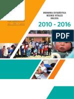 Memoria Estadistica Bolivia 2010 2016