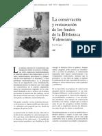 Conservacion y restauracion de los fondos de la Biblioteca Valenciana