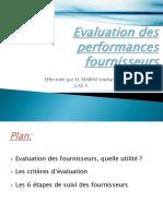 Evaluation Des Performances Fournisseurs