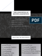 The Linguistics of Second Acquisition
