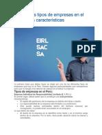 Conoce Los Tipos de Empresas en El Perú y Sus Características