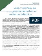 Evaluación y Manejo de Urgencia Dental en El Enfermo Sistémico. Urgencias. PDF
