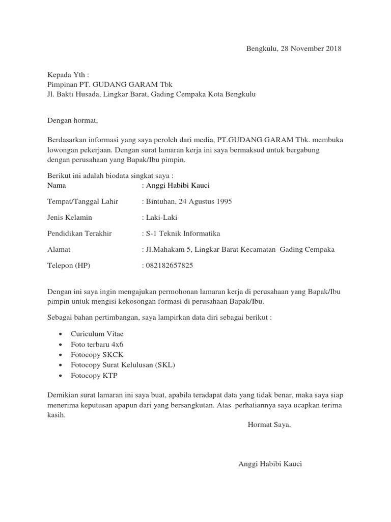 Surat Lamaran Gudang Garam Jawa