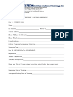 Internship Training Agreement