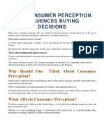 Influences of Consumer Perception on Buying Decisions