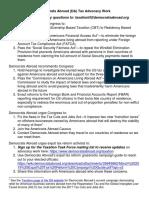 Democrats Abroad Tax Advocacy Work