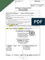 Evaluación n°1 Taller de Lenguaje 3° básico (jueves 11 de abril)