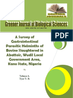 A Survey of Gastrointestinal Parasitic Helminths of Bovines(Cattle) Slaughtered in Abattoir, Wudil LGA , Kano State, Nigeria
