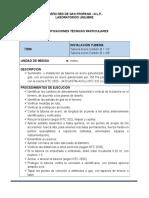 Especificaciones Técnicas Red Gas Laboratorios Unilibre