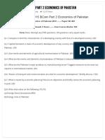 Past Paper 2015 BCom Part 2 Economics of Pakistan