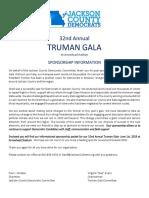 Truman Gala 2019 Sponsor Letter