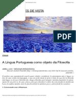 A Língua Portuguesa como objeto da Filosofia | REVISTA PONTES DE VISTA