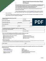 Alberta Student Personal Information Change Form