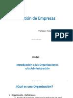 GdE Unidad 1 Introduccin a Las Organizaciones y La Administracin