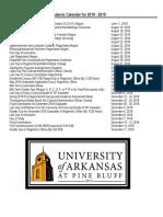 UAPB Academic Calendar 2018 - 19