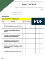 Internal Quality Audit Checklist