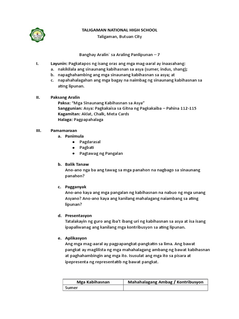 Madison : Mga sinaunang kabihasnan sa asya grade 7 lesson plan