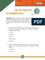 Tarea Leyes de Signos de La Multiplicación