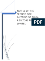 Notice for 2nd CoC Meeting.of Puma Realtors P Ltd