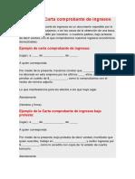 Ejemplo de Carta Comprobante de Ingresos