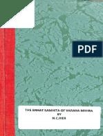 The Brhat Samhita Of Varaha Mihira - N C Iyer.pdf