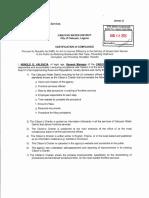 Certificate of Compliance - Citizens Charter