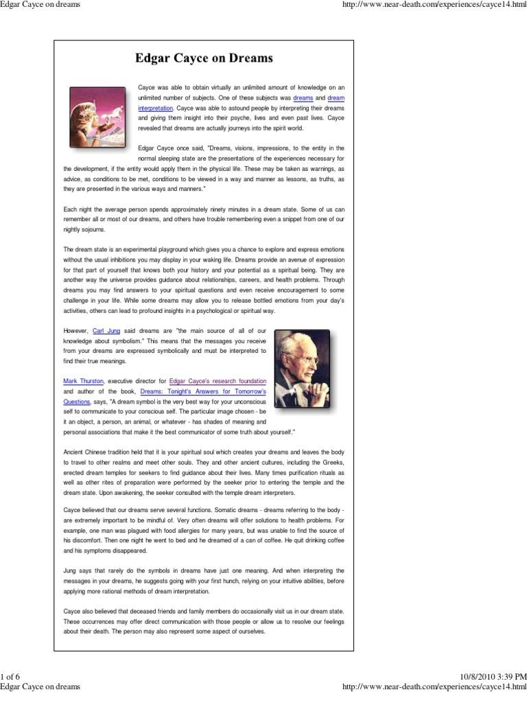 Edgar Cayce on Dreams | Dream | Intuition