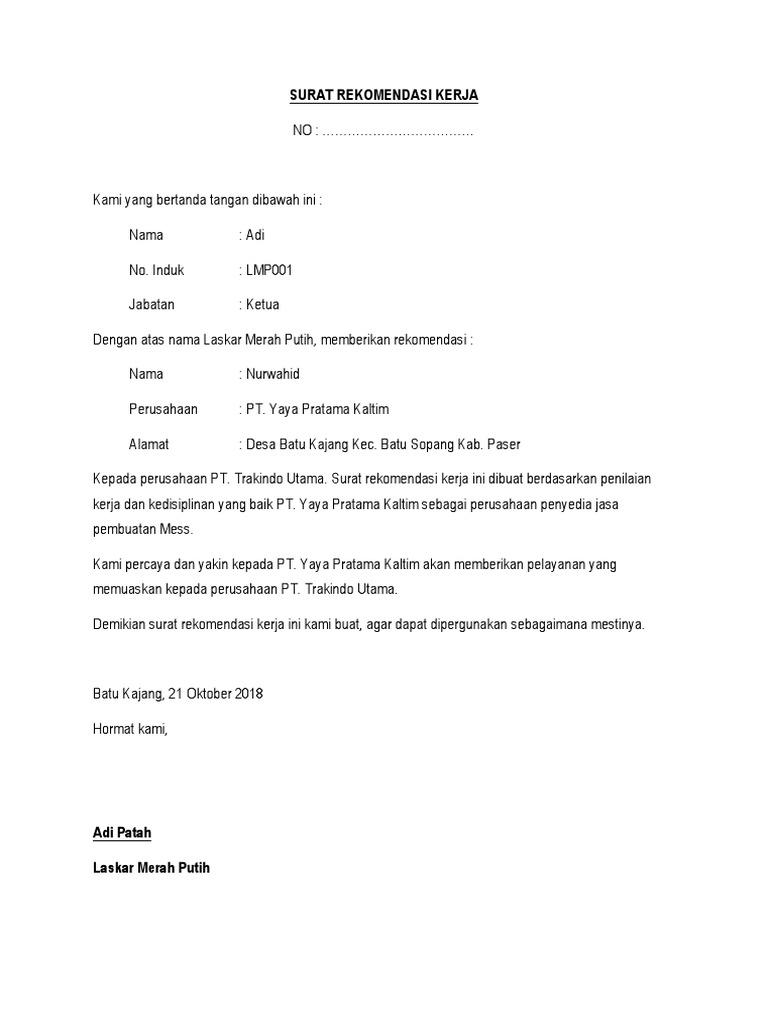 Surat Rekomendasi Kerja
