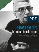 Barthes, Roland - La préparation du roman