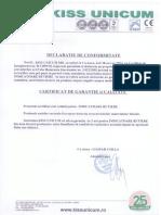 Certificat de Conformitate Indicatoare