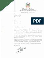 Carta de felicitación del presidente Danilo Medina por 71 aniversario del periódico El Caribe