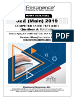 JEE Main 2019 Mathematics April Attempt Shift - 1(12th April, 2019)