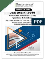 JEE Main 2019 Mathematics April Attempt Shift - 1(12th April, 2019)