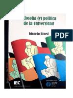 Eduardo Rinesi - Filosifía (y) Política de la Universidad