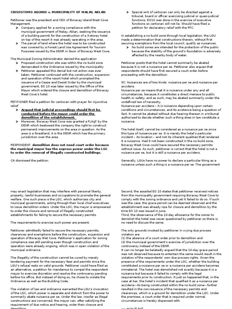 Aquino V Municiaplity Of Malay Aklan Nuisance Certiorari