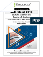 JEE Main 2019 Physics April Attempt Shift - 2(12th April, 2019)
